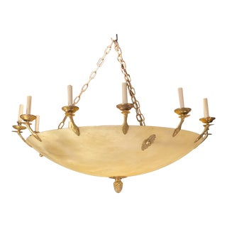 1940s French Empire Alabaster Chandelier For Sale
