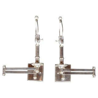 Pair of Articulating Chrome Sconces For Sale