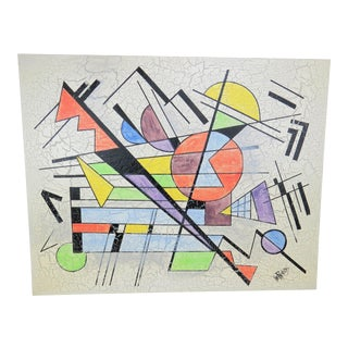 1980s Lee Reynolds Large Abstract Painting in the Style of Wassily Kandinsky For Sale