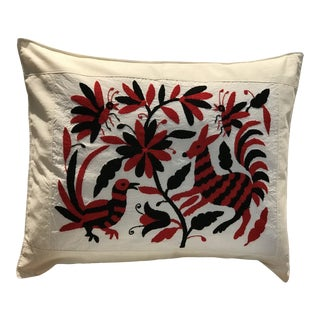Red and Black Mexican Tenango Hand Embroidered Pillow Cover For Sale