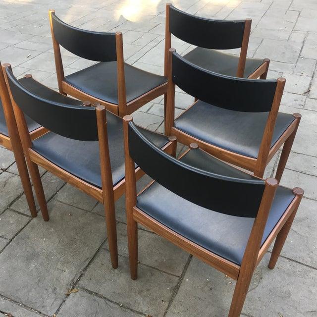 Danish Modern Teak and Black Vinyl Dining Chairs - Set of 6 - Image 5 of 11