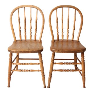 Antique Bow Back Windsor Chairs - a Pair For Sale