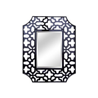 Olivia High Gloss Black Enamel Wall Mirror For Sale