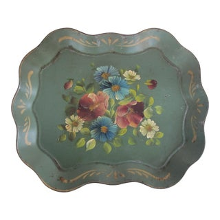 Vintage Sage Green Tole Tray With Hand-Painted Flower For Sale
