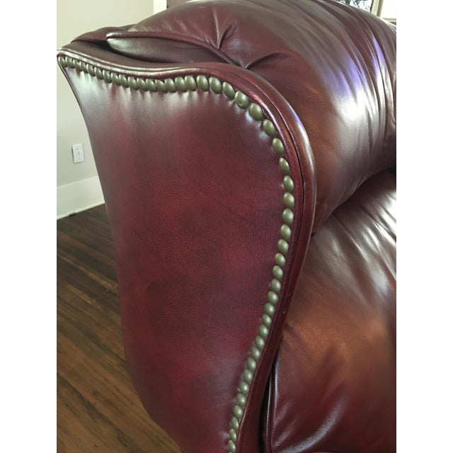 Hancock & Moore Addison Bustle Back Ball & Claw Recliner in Red Leather - Image 7 of 11