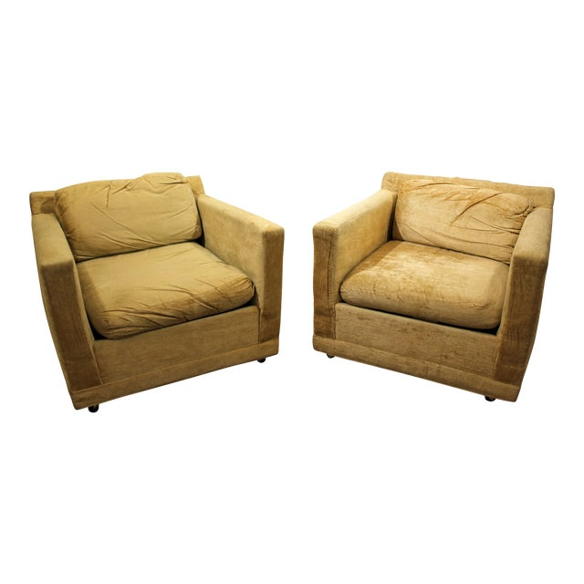 Pair of Mid-Century Modern Danish Modern Selig of Monroe Lounge Cube/Club Chairs - Image 1 of 11
