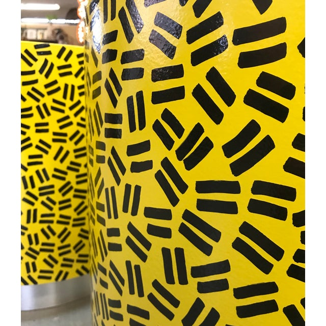 Modern Pop Art Post Modern Cylinder Side Tables -A Pair For Sale - Image 3 of 7