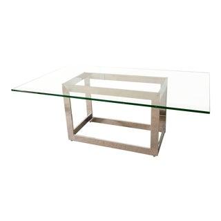 Mid Century Milo Baughman Style Glass & Chrome Dining Table