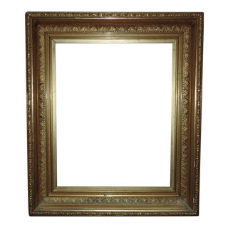 """19th C. Picture Frame Gilt Wood & Gesso Antique Victorian for Painting Print Mirror 16 1/4"""" X 20 1/4"""" Rabbet Opening For Sale"""