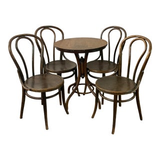 Jacob & Josef Kohn Thonet-Style Bentwood Bistro Table and Chairs - 5 Pieces For Sale