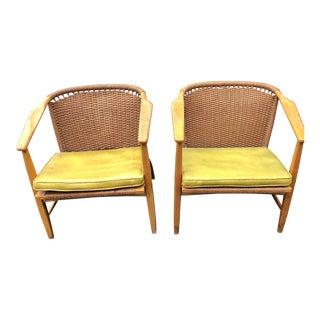 Mid Century Modern Danish Hans Wegner Style Cord Chairs- A Pair For Sale