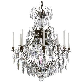 Baroque Ebony 8 Arm Candle Chandelier For Sale