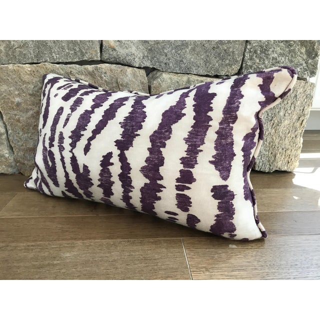 """12 x 20"""" custom, down-filled lumbar pillow with hidden zipper and self-welt in Schumacher's Animaux in Eggplant. Fabric is..."""