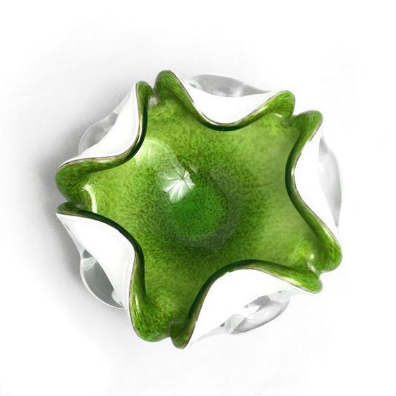 Green 1950s Vintage Murano Fratelli Toso Chartreuse Glass Dish For Sale - Image 8 of 8