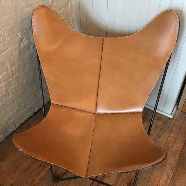 Metal Jorge Ferrari-Hardoy for Knoll Leather Butterfly Chair For Sale - Image 7 of 9