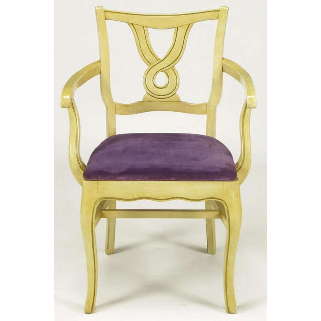 Uncommon set of six regency style dining armchairs with ivory glazed and parcel gilt carved wood frames with amethyst...
