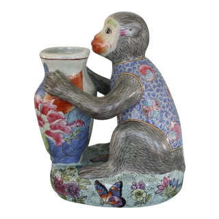 Vintage Gump's Porcelain Palm Beach Style Monkey Holding Vase For Sale