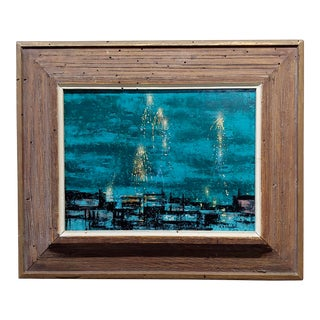 Richard Florsheim 1950s Night Fireworks Over the City -Oil Painting For Sale