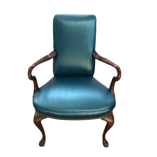 Queen Ann Style Teal Armchair - Image 1 of 3