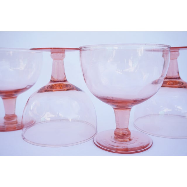 Pink Set of 6 Vintage Pink Stemmed Glasses | Wine Goblets | Champagne Coupes | Sorbet/Berry Cups | Candy Dish ||+1 Bonus Glass Included For Sale - Image 8 of 11