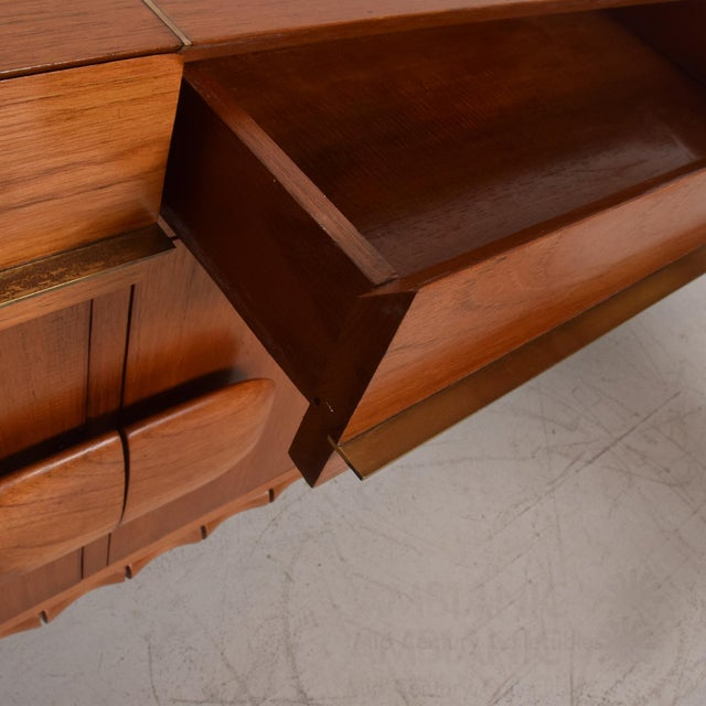 Gold Midcentury Mexican Modernist Floating Bamboo Credenza, Frank Kyle, 1960s For Sale - Image 8 of 12