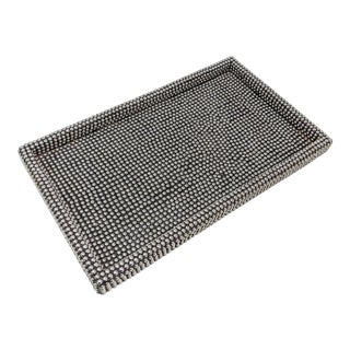 Modern Punk Black and Silver Decorative Serving Tray With Metal Stud Accents For Sale