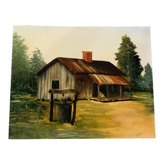 Vintage Mid-Century Country House Landscape Oil on Canvas Painting For Sale