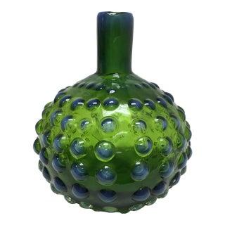 1940s Fenton Hobnail Vase in Green & Blue For Sale