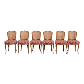 Set of 6 Vintage Carved Walnut Louis XV Style Caned Dining Chairs, Made in Florence Italy For Sale