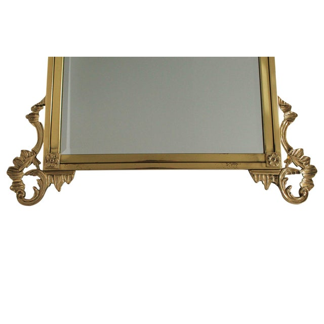 Hollywood Regency Ornate Brass Wall Mirror For Sale - Image 3 of 7