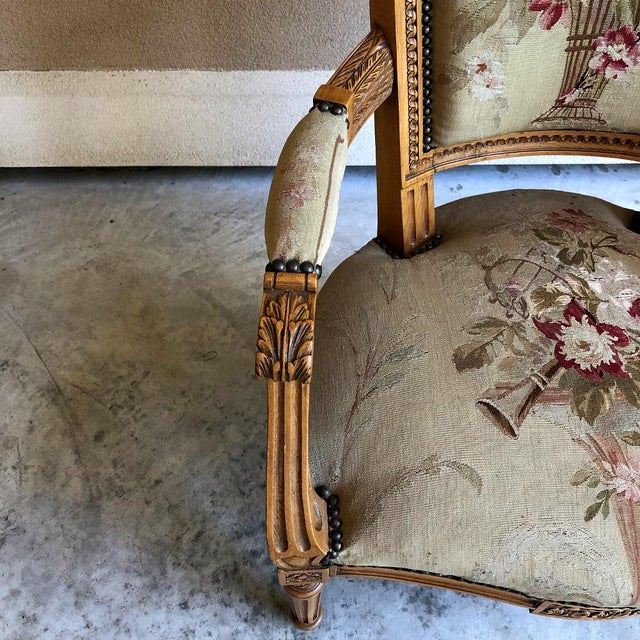 Pair of Louis XVI French Aubusson Tapestry Fruitwood Armchairs For Sale - Image 12 of 13