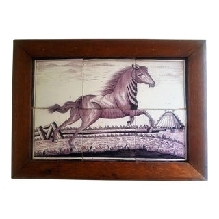 Late 18th Century Antique Framed Dutch Hand-Painted Tiles For Sale