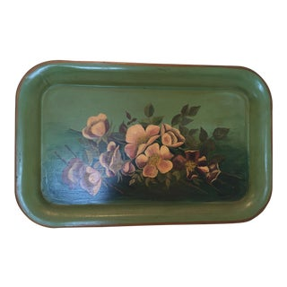 Vintage Painted Green Tole Tray For Sale
