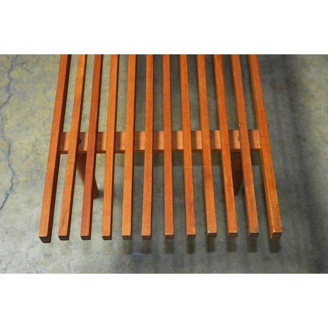 Mid-Century Modern Low Slat Wood Bench Coffee Table For Sale - Image 4 of 9