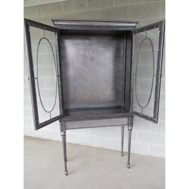 Modern Welded Steel Designer 2 Door Display Cabinet For Sale In Philadelphia - Image 6 of 13