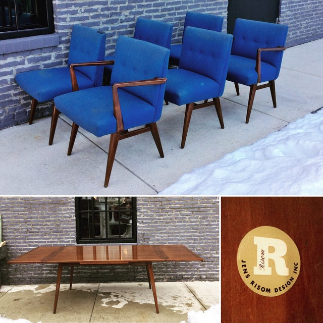 Jens Risom Vintage Walnut Dining Chairs - Set of 6 - Image 3 of 7
