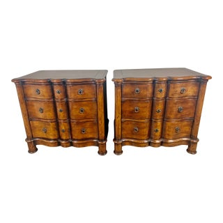 Italian Walnut Scalloped Chest of Drawers, Pair For Sale