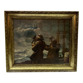 Mid- Century Modern Print of Sailors Scouting for Land in Gold Wooden Frame For Sale