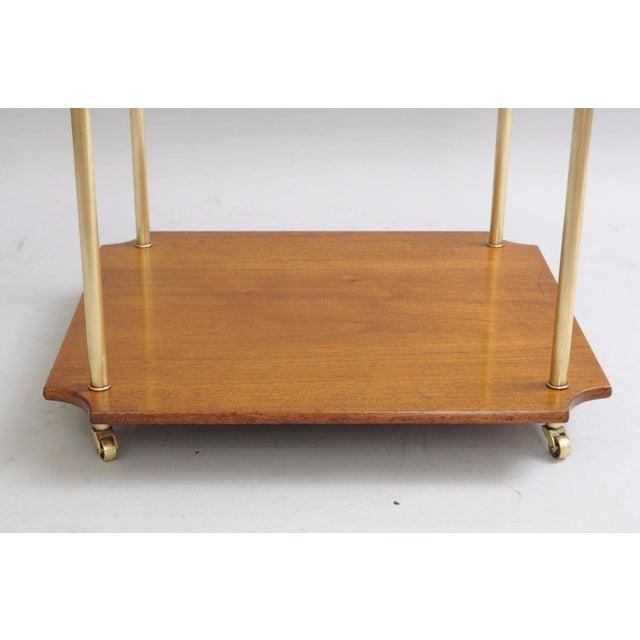 Mid Century Modern Walnut Brass Glass Table - Image 6 of 11