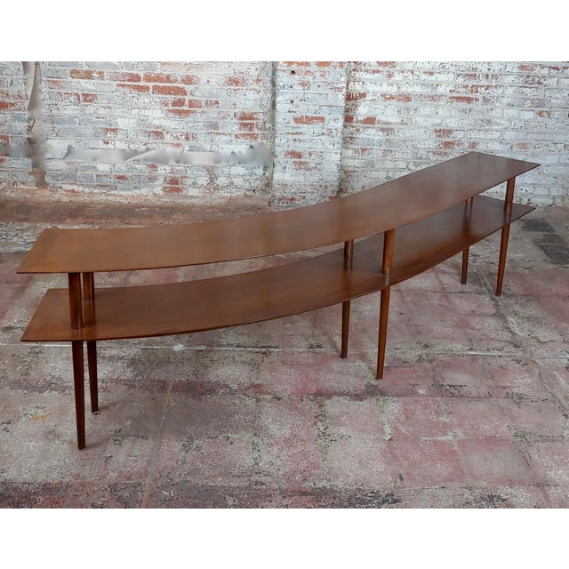 1960s Mid-century Modern Walnut Two Tier Curvy Console -Rare Dimensions : height 26 width 96 depth 14in A beautiful piece...