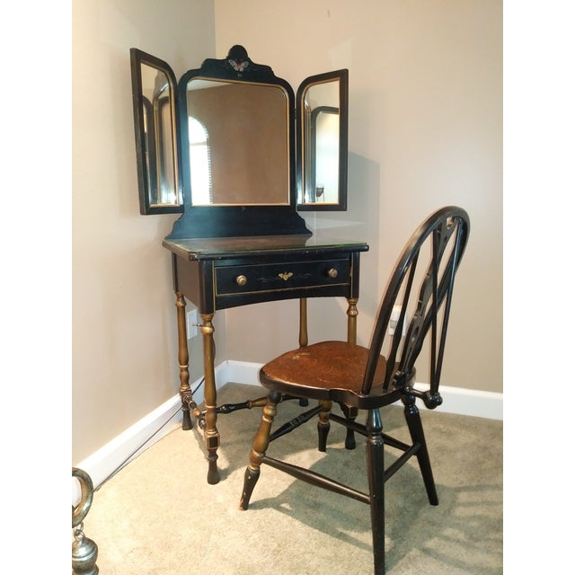 Stickley Bros. Vanity W/ Tri Fold Mirror & Chair For Sale - Image 13 of 13