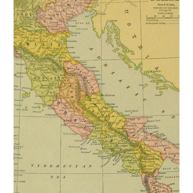 Antique map of Italy by Cram, 1890. Map shows rivers, mountains, rivers, railroad transport and towns. Over 100 years old....