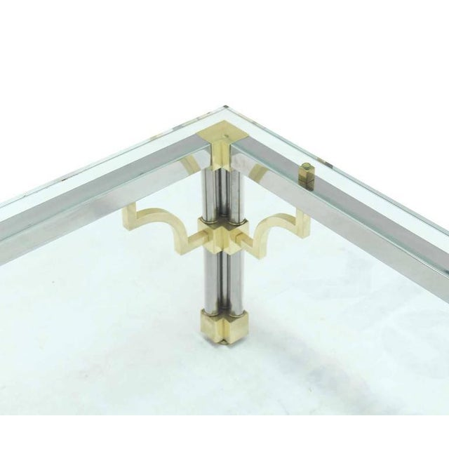 Brass Heavy Thick Glass Brass and Chrome Coffee Table For Sale - Image 7 of 8