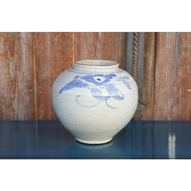 Asian Blue and White Asian Glazed Pot For Sale - Image 3 of 8