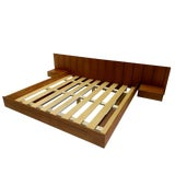 Image of Teak King Mid Century Danish Inspired Floating Platform Bed & Nightstands Made in Usa For Sale