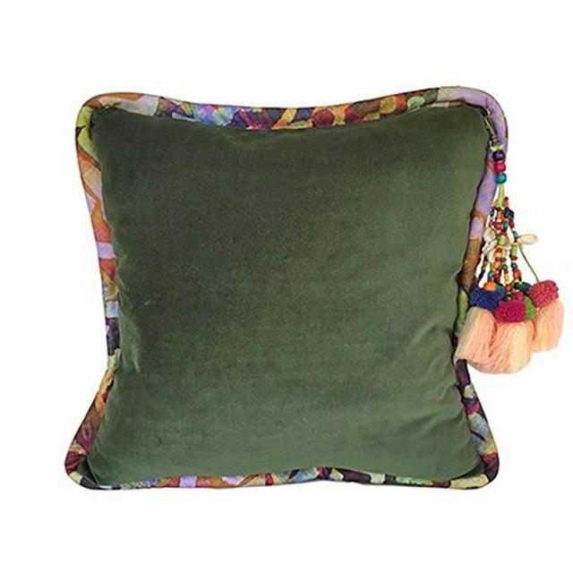 2010s Forest Green / Bakuba Lodge Velvet Throw Pillow For Sale - Image 5 of 5