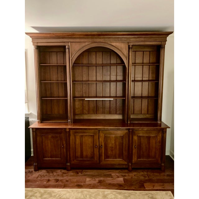 Cherry Triple Bookcase Breakfront Cabinet by Henredon For Sale - Image 13 of 13