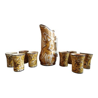 Mexican Fantasia Yellow & Cream Pitcher & Tumblers - 9 Piece Set For Sale