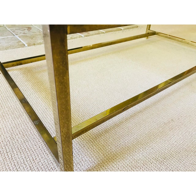 Mid Century Coffee Table Brass and Glass Floating For Sale In New York - Image 6 of 10