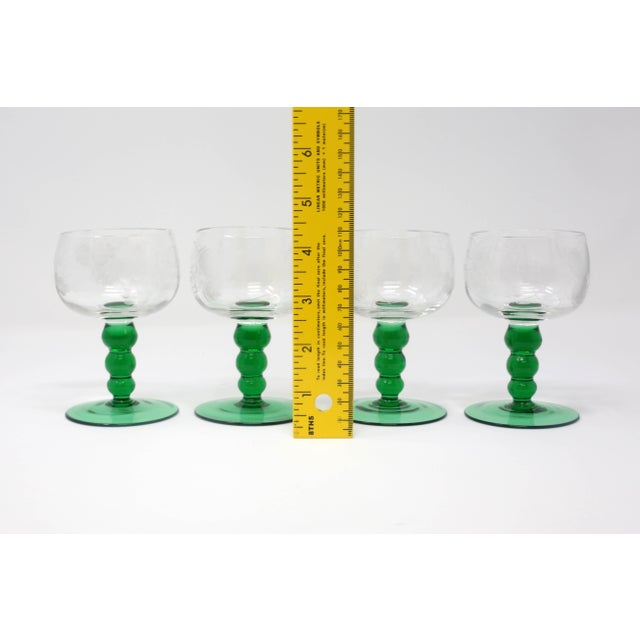 Mid-Century Cordial Glasses With Etched Grapes and Leaves - Set of 4 For Sale - Image 11 of 12